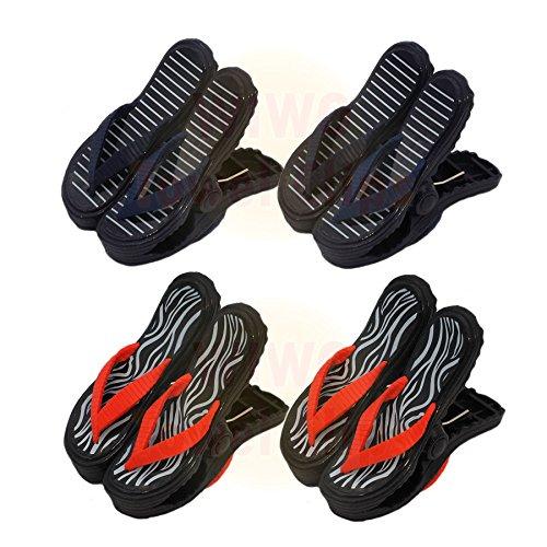 wiwo 4Paar Sandale Flip Flop Handtuch Clips–2x blau streifen & 2x Zebra Print