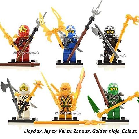 6 Minifigure Kai Cole Golden Lioyd Jay Zane ZX Building Brick Toy by pordee