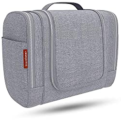 Kulturbeutel [DESIGN 2018], Kulturtasche zum Aufhängen für Damen, Herren und Kinder, Große Kosmetiktasche mit 7 Liter Stauraum, Waschtasche, Waschbeutel in Premium-Qualität (grau)