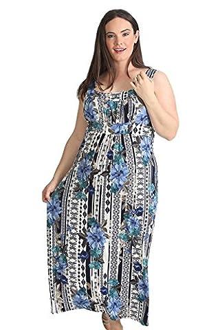 Nouvelle Plus Size Paisley Print Maxi Dress (Size 22-24, Blue)