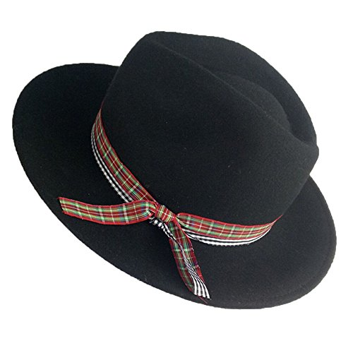 Wollmütze Lady Outdoor Sonnenhut Plaid Ribbon Bow Tie Cap Plaid Wool Cap