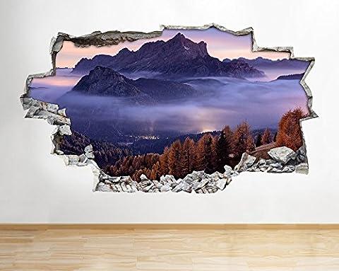 B117Montagnes Forêt arbres Sunset Violet Sticker mural Stickers Poster 3D Art Largeur (Taille M (52x 52x 30cm))