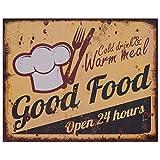 Decobay.eu Werbe Blechschild Retro Schild 50er Jahre Good Food 20x25 Shabby Wanddeko Bistro