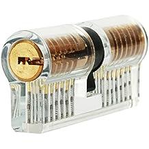 Cerradura transparente de cilindro, LOMATEE juego de ganzúas para práctica de desbloqueo de principantes amantes cerrajeros con 2 llaves