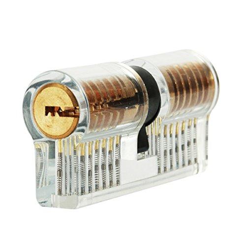 Serratura a cilindro trasparente con 2 chiavi, LOMATEE Cilindro delle serratura visibile e pratica, ideale per principianti