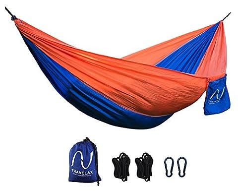 Hamac portable ultraléger TRAVELAX - supports d'accroche compris - fait en toile de parachute en nylon résistant, idéal comme hamac de jardin, plage, voyage ou piscine.