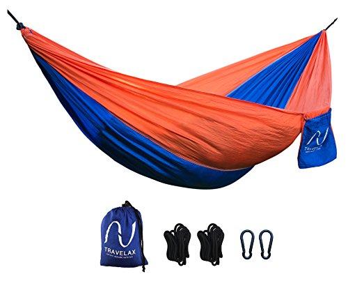 Ultra-leichte Outdoor-Hängematte für die Reise inkl Befestigungs-Set | Reise-Hängematte aus Fallschirmseide | 2,60 x 1,40 Meter | Camping-Hängematte von Travelax