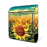BANJADO Design Briefkasten schwarz/38x47x13cm groß mit Zeitungsfach/Stahl pulverbeschichtet/Wandbriefkasten mit Motiv Sonnenblumen, Briefkasten:ohne Standfuß