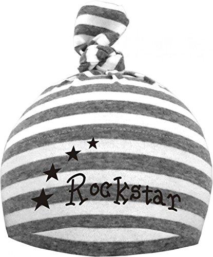 Baby 1-Zipfel Mütze (Farbe grau/weiss) (Gr. 1 (0-74)) Rockstar /FAT