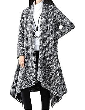 Abrigo De Mujer Chaqueta Larga Dobladillo Irregular Parka Cardigan Abrigo