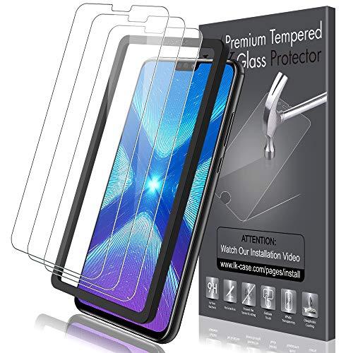 KundL LK [3 Stück] Schutzfolie für Huawei Honor 8X Panzerglas, Panzerglasfolie für Huawei Honor 8X [Mit Einbaurahmen], [Lebenslanger Ersatz Garantie]