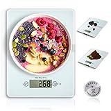 HAMSWAN Digitale Küchenwaage, VKS314 Multifunktionale Küchenwaage, Sicherheitsgla Küchenwaage, Ultra-Slim, leicht zu reinigen, 4 Einheiten, 11lb 5kg, für Home Baking/Diät-Kochen MEHRWEG