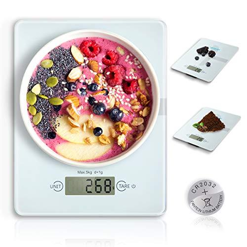 HAMSWAN Báscula Digital de Cocina, Balanza Electrónica de Alimentos Multifuncional en Vidrio, 5kg / 11 lbs Fácil de Limpiar (Pila de Botón Incluida), Smart Weigh Ultradelgada, Peso de Cocina