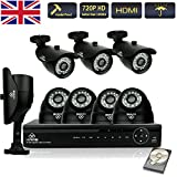 Image of Kare® Full 8 Channel 8ch 720p Hd Dvr Cctv Home Camera Security Surveillance System With 720p Ahd High Resolution Bulletdome Camera h264 720p Hdmivgabnc Hdmi Output Ir Night Vision Outdoor Waterproofvandal Proof Housingreal time Recording Motion Detection
