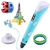 Lovebay 3D Drucker Stift DIY Scribbler 3D Stereoscopic Printing Pen mit LCD-Bildschirm + 3 X ⌀1,75 mm PLA Filament Blau Weiß Grüne,insgesamt 9M || für Kinder Anfänger Erwachsene Zeichnung