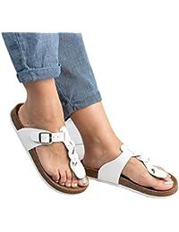 Damen Flip Flops Schuhe Sandalen Schnalle Peep-Toe Slip Sommer Strand Flache 4fu0u