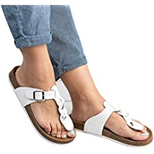 Gemijacka Damen Flip Flops Schuhe Sandalen Schnalle Peep-Toe Slip Sommer Strand Flache GtT7Y