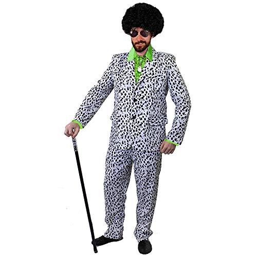 Kostüm Dalmatiner Gruppe - ILOVEFANCYDRESS ZUHÄLTER/Pimp KOSTÜME VERKLEIDUNG 60iger 70s Jahre=Fasching Karneval Disco=GRÜNES SEIDIGES RÜSCHEN Hemd+PERÜCKE+Medallion+Dalmatiner Look Hosenanzug+AVAIATOR Brille=SMALL