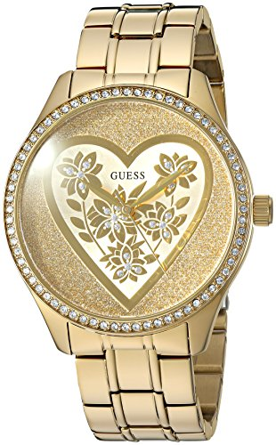 GUESS Women's U0910L2 Trendy Gold-Tone Watch with  Gold Dial  and Stainless Steel Band