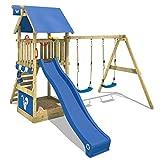 WICKEY Kletterturm Smart Shelter Spielturm mit Schaukel und Rutsche Klettergerüst mit Sandkasten und Kletterleiter, blaue Rutsche + blaue Plane