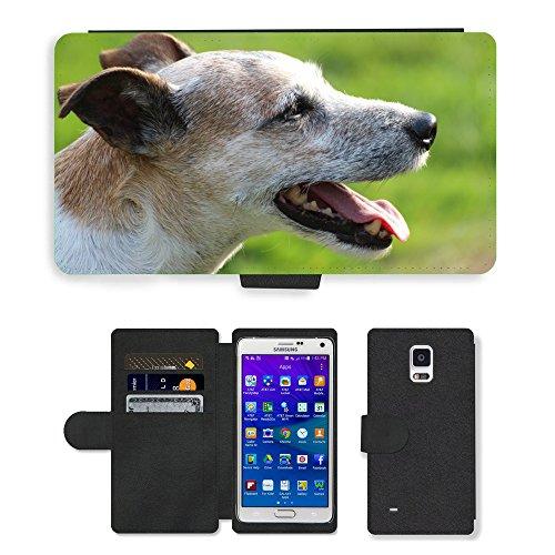 PU Flip Carcasa Funda de Cuero Piel Cubre Case // M00133651 Cane Capo Close Parson Russell Terrier // Samsung Galaxy Note 4 IV