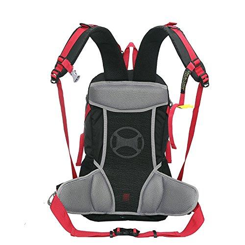Cuckoo 40L leichter wasserdichter Camping Reisen Radfahren Wandern Rucksack mit Regen Abdeckung Laptop Abteil Hydratation Blase Pack Schwarz