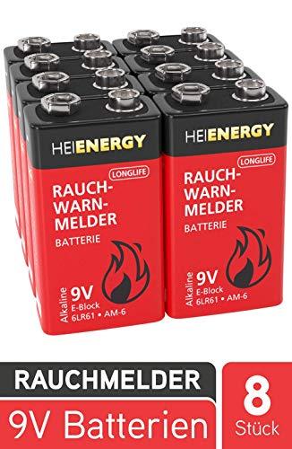 HEITECH 9V Batterie für Rauchwarnmelder - 8× Alkaline 9V Block Batterien langlebig & auslaufsicher ideal für Feuermelder, Bewegungsmelder, Rauchmelder, Alarmanlagen & Kohlenmonoxid Warnmelder