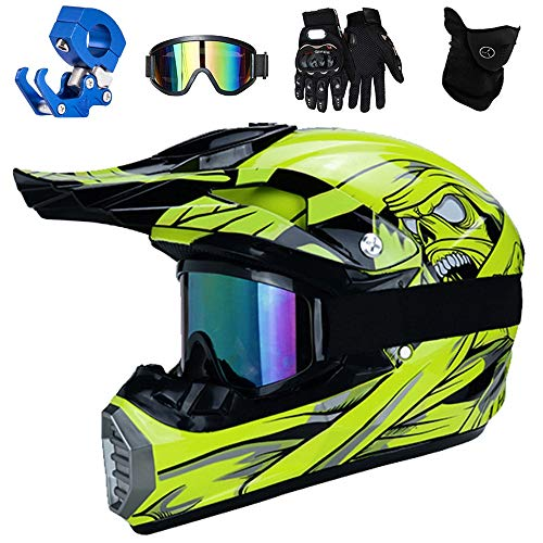 QYTK® Enduro Crosshelm Kinder, Full Face Motocross Helm Gelb Motorradhelm Zubehör mit Brille Maske Handschuhe Helmhaken für Motorrad Junge Downhill MX MTB ATV,XL(58~59CM)