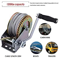 FGHGFCFFGH Rated Capacity 1200lbs Truck Auto Hand Manual Winch Portable Boat Marine Trailer 20M Cable Hook Manual with Grip Crank Handle