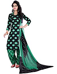 Taboody Empire Majestic Green Satin Cotton Handi Crafts Bandhani Work With Straight Salwar Suit For Girls And...