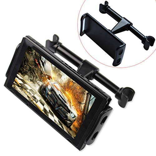 Verstellbare Autohalterung für Switch Phone Tablet Andere Geräte,Auto Kopfstützenhalterung Mobile Game Controller, Joystick Mobile Joysticks Gamepad Handy Shooter Zubehör (schwarz) -