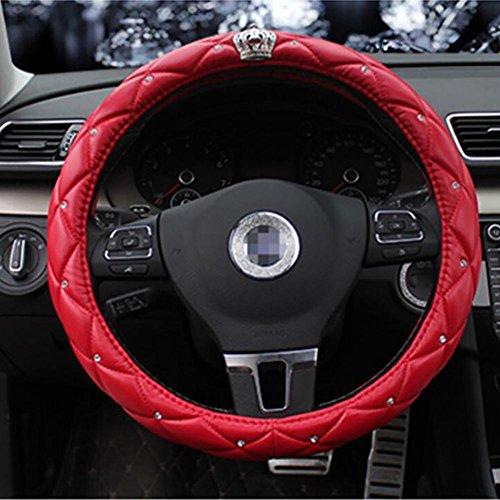 CHES Lenkradabdeckung, Mit Strasssteinen Mehrfache Farbe Universelle Passform Durchmesser 38 cm , red