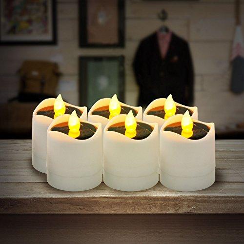Funpa LED Kerzen, 6 Stück Solar Kerzen Außen -