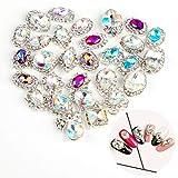 MWOOT 30 Pezzi Strass e 1500 Pezzi Cristalli Decorativi (1.2-5 mm) per Decorazione delle Unghie, Strass Crystal Unghie