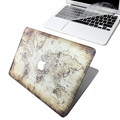 MacBook Pro 13 Case 2017/2016 Release A1706&A1708, [The World Map] Soundmae Frosted Plastic Hard Shell Smooth Case&Keyboard Cover for MacBook Pro 13 Inch with/without Touch Bar&Touch ID, Map