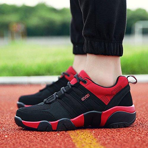 Scarpe da corsa uomo, Gracosy Scarpe da Corsa Sportive Casuale all'Aperto Scarpe da ginnastica Soft mesh per donne e uomini Unisex-Adulto Nero-rosso