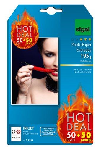 Preisvergleich Produktbild Sigel T1154 InkJet Fotopapier, 50 + 50 Blatt gratis, 10 x 15 cm, hochglänzend, 195 g