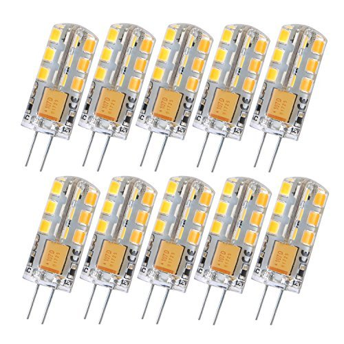 Liqoo® 10er G4 AC DC 12V LED Lampe Birne 3W 180 Lumen Warmweiß 3000K Ersetzt 15W Abstrahlwinkel 360º nicht dimmbar 12x 37mm