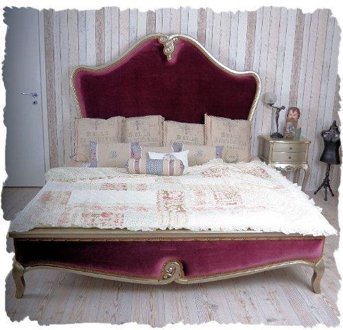 Schönes Bett/Ehebett/Doppelbett/Schlafzimmerbett/Maxibett mit lieblichem und extravaganten Schnitzereien aus Holz und zudem im angesagten französischen Landhaus-Stil - Palazzo Exclusive - Viktorianischen Bett Holz Bett