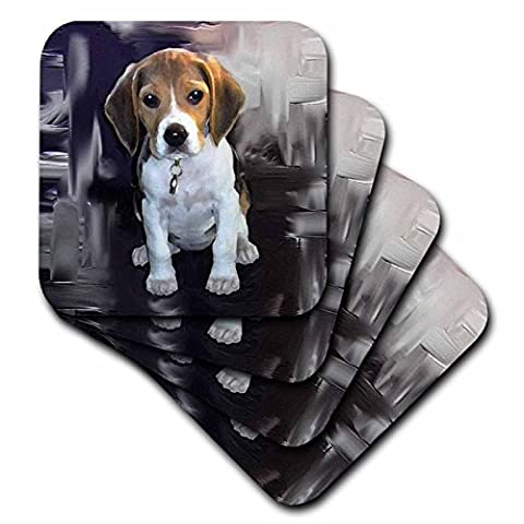 3drose Beagle Ceramic Tile Coaster, Set of 4