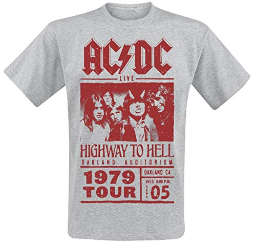 AC/DC Highway To Hell - Red Photo - 1979 Tour Camiseta Gris/Melé M