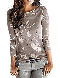 88757612f8 Rcool Camicetta Elegante Donna Love Fiore Stampa Camicia Manica Lunga Maglietta  Maglia, Tops T Shirt