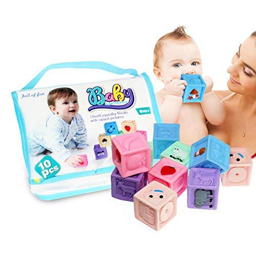 Los bloques de construcción en relieve de goma suave Infit pueden morder a los niños pequeños Educación temprana Juguetes educativos para niños de 3 a 12 meses de edad