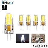 ELINKUME 5X G4 4W LED Glühlampen, 20 SMD 2835 LED Kaltweiß LED Leuchtmittel 360° AC DC 12V,Ersatz für 30W Halogenlampen,285LM,6500K