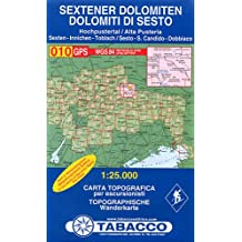 Sextener Dolomiten: Wanderkarte Tabacco 010. 1:25000: Dolomiti di Sesto (Cartes Topograh)