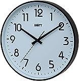Unity Fradley 30cm 30,5cm Moderno Orologio da Parete Silenzioso, plastica, Nero, 30 x 30 x 5 cm