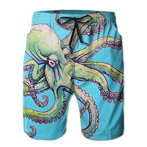 Casual Mens Swim Trunks Quick Dry Octopus Sea Blue Printed Beach Shorts Summer Boardshorts with Mesh Lining XL