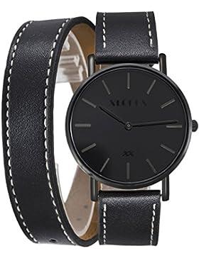XLORDX Classic Herren Damen All Black Quarz Armbanduhr Elegant Quarzuhr Uhr Modisch Doppel Wrap Schwarz Leder