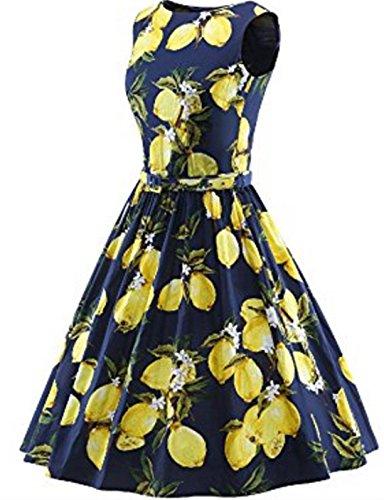YOGLY Damen Kleider Damen Ärmellos Rundhals-Ausschnitt Party Club Kurz Slim Abend Brautkleid Cocktail Ballkleid Blau