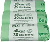 All-Green 30 Litre Biobag Compostable Kerbside Caddy Bin Liners, 30 Bags